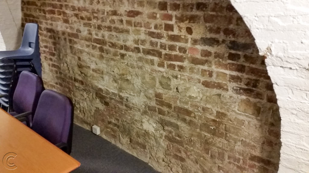 Roman block work is present in places in the crypt of All Hallows on the Wall church