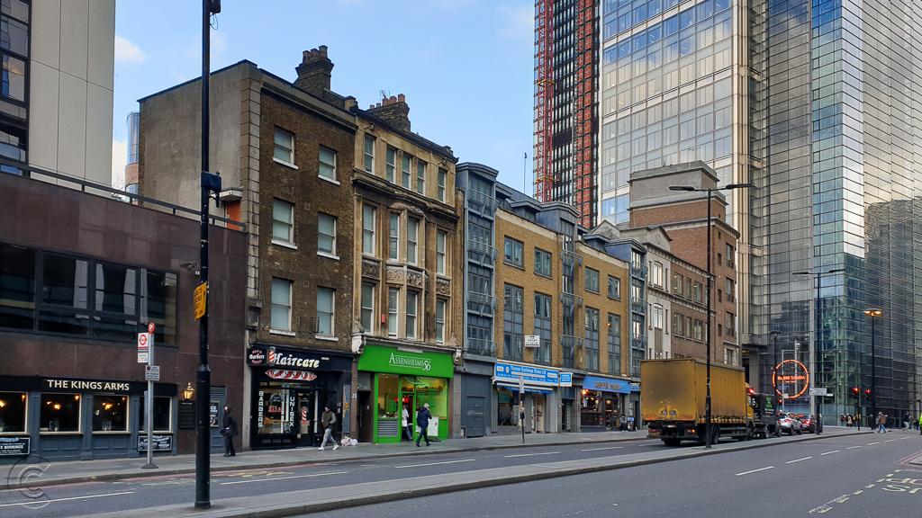 North side of Wormwood Street, London, EC2 looking towards Bishopsgate.